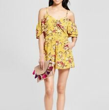 39f23c8a40a5 Xhilaration™ Women s Floral Print Cold Shoulder Ruched Romper Golden Yellow  M