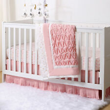 Coral Swans and Stars Pleated 3 Piece Crib Bedding Set by The Peanut Shell