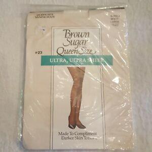 Brown Sugar Queen Size Large Sandalfoot Pantyhose White B4402Q Ultra Sheer