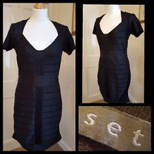 Set Black Bandage Ribbed Style Sheath Dress Size 14