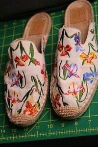 Tory Burch White Floral Embroidered Canvas Straw Flats Sz10