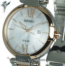 Ladies SEIKO SOLAR WHITE FACE ROSE GOLD TWO TONE With STEEL BRACELET SUT156P1