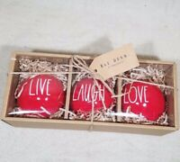 RAE DUNN LIVE LAUGH LOVE RED CERAMIC CHRISTMAS ORNAMENT BALL GIFT PACK MAGENTA