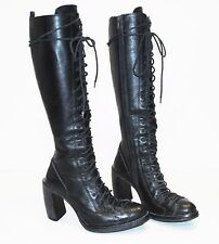 ANN DEMEULEMEESTER Black Leather Single Lace Talon Heel Combat Knee Boots 38