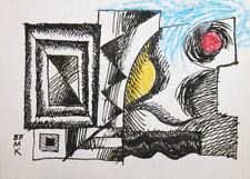 1987 CUBISM MODERNIST PASTEL / INK PAINTING SIGNED