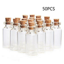 50x Mini Empty Clear Glass Bottle With Cork Small Tiny Vials Jars Trans HJE