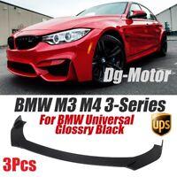 Front Bumper Lip Spoiler Spiltter Universal For BMW M3 M4 3-Series Body Kit 3Pcs