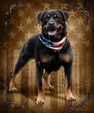 JQ Patriotic To The Bone Rottweiler Dog Signature Queen Blanket