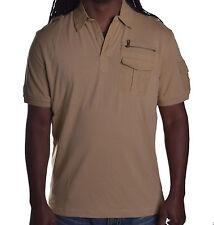 Sean John Men's Brown Solid Corn Stalk Rugby Polo Shirt Size Medium