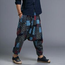 Pantaloni Uomo Cotone Lino Giapponese Cinese Casual Harem Pants elastico in vita Punk