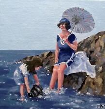 "Fun on the Rocks :  Nostalgic Original Oil Painting  Wendy Warwick 8"" X 8"""