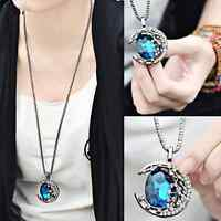 Crystal Moon Long Pendant Sweater Chain Necklace Jewelry Valentine's Day Gift