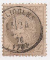 1870 France  Scott #52 Ceres Used 4c Gray,  SCV $40 SON Ollioules Postmark