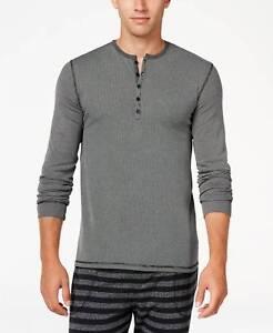 $70 Kenneth Cole Reaction Men Pajamas Long-Sleeve Shirt Black Lounge Sleepwear L