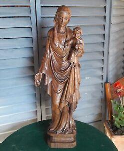 anciene grande sculpture religieuse vierge bois sculpté statue religion