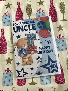 FOR A SPECIAL UNCLE HAPPY BIRTHDAY GREETING CARD WISHES CUTE TEDDY BEAR STARS