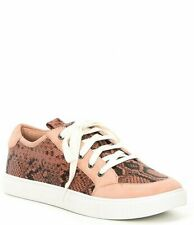 $168 Donald Pliner Blush Suzie Snake Print Leather Lace-Up Sneakers Size 10M