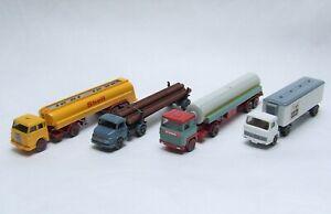 4 Camions WIKING 1/87ème - MERCEDES LS 1413 MAGIRUS 100 D7 MAN 10.230 SCANIA 110