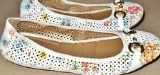 *ME TOO 'LUNA' LACY PERFORATED BALLET FLAT* / WHITE w FLORAL PATTERN / SIZE 9