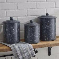 GREY GRANITWARE CANISTER SET OF 3 NEW