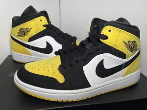 """Nike Air Jordan 1 Mid SE """"Yellow Toe Black"""" 2019 Men's Size 9 852542-071"""