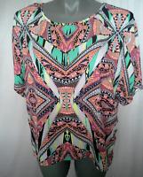 Ladies Womens Short Sleeve Blouse Top Shirt Tribal Print Casual Rockmans Size 20