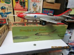 "DOUGLAS SKY ROCKET NAVY JET IN BOX FRICTION N MINT WORKS WITH TIP 18"" JAPAN RARE"