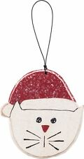 NEW!~Christmas Wood Ornament Sign~Cat in Santa Hat~Tree/Wreath/Gift Tag/Whiskers