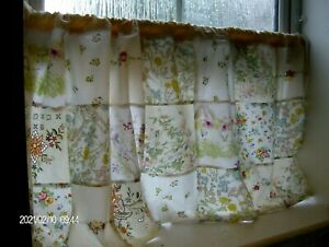 PATCHWORK CAFE CURTAIN - inc DORMA COUNTRY DIARY & ROD & HOOKS ~ Fleur~