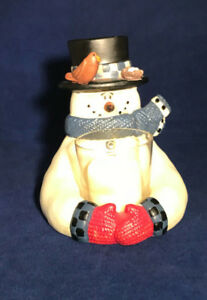 Frosty Friend Snowman votive holder with battery flickering candle