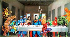 "Superheroes Last Supper Batman Superman Spiderman by SEKERO - 17""x 22"" Art Print"
