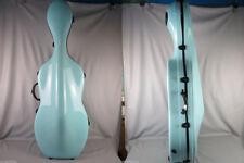 4/4 light Blue fiberglass cello hard case with wheells