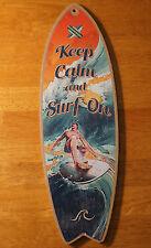 KEEP CALM & SURF ON SURFBOARD SIGN Tropical Beach Surfer Surfing Home Decor NEW