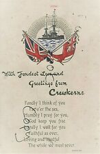 WW1 Military patriotic greetings card Crewkerne  Pte J Firth 9th DCLI Wareham