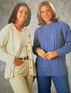 """Ladies Aran Cardigan & Jumper Size: 30""""-42"""" Knitting Pattern  L56"""
