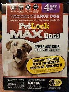 PetLock Max for Dogs Repels & Kills Ticks Fleas 4-Month Large 21-55 lbs. New *14