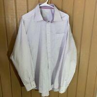 Eton Classic Purple Paid Dress Shirt 17.5 44