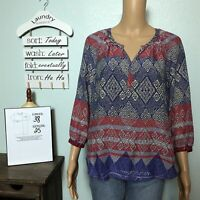 BLL Beach Lunch Lounge Popover Shirt SMALL Colorful Ikat Stripe 3/4 Sleeve