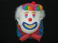 """Large Clown Face 3D 18"""" Tall Fabric Handmade Wall Hanging 1980'S Colorful"""