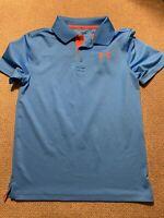 Boys Under Armour Blue Orange Polo Shirt Medium M