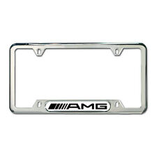 Genuine Mercedes Benz AMG Polished Stainless Steel License Plate Frame