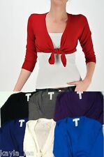 3/4 Sleeve Tie Front Cropped Cardigan/Bolero/Shrug Top S/M/L Choose One-6 Colors
