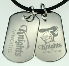 NEWCASTLE KNIGHTS NRL LOGO MENS DOUBLE DOG TAG S/S LEATHER NECKLACE JEWELLERY