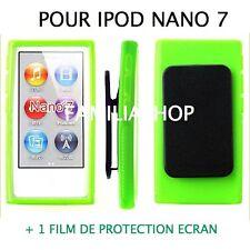 Housse etui coque silicone vert avec Clip pour iPod Nano 7 7G  + Film protection