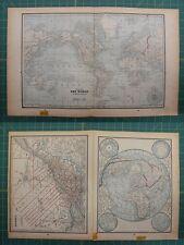The World Quebec Canada Vintage Original 1893 Columbian World Atlas Map Lot