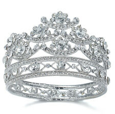 TQA89 Holy White Clear Rhinestone Crystal Alloy Bridal Tiara Small Little Crown