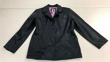 CS Signature black pink lined button front water resistant fall jacket size M