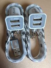 2x 2 puertos USB Cargador de coche para iPhone 8 7 6 5s 5C SE + 2x Plus 1.5m Cable Usb