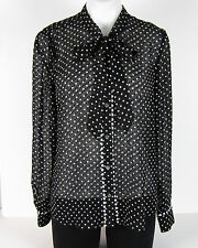 NWT J Crew Textured tie-neck top in polka dot Sz 12 HO16 Black Ivory $138 F8141