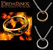 Lord of the Rings Gold Plated Stainless Steel Ring & Necklace & Collection Bag